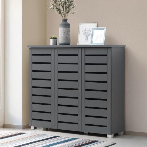 5 Tier Shoe Storage Cabinet 3 Door Cupboard Stand Rack Unit Dark Grey