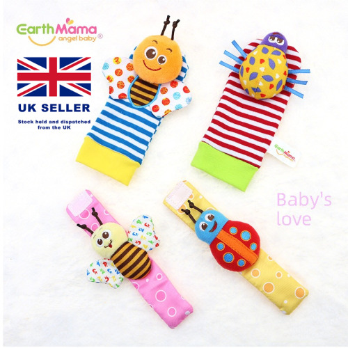 4 pcs Baby Rattle Set Sensory Developmental Toys Foot-finder Socks Wrist Rattles