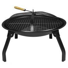 ASAB Folding Cast Iron Fire Bowl BBQ Firepit Brazier Heater Mesh Cover