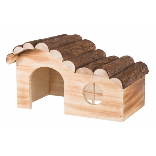 Natural Living Hanna House, Flamed, 29 × 18 × 18cm - New Trixie Flamed House -  new trixie hanna flamed house sizes wooden rat chinchilla guinea pig