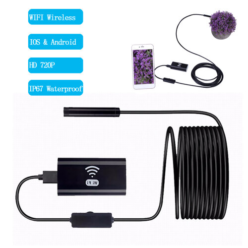 HD 720P Wireless WiFi Endoscope Borescope Inspection IP67 Waterproof with 6 LEDs
