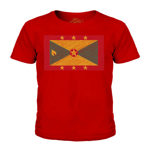 (Red, 11-12 Years) Candymix - Grenada Scribble Flag - Unisex Kid's T-Shirt