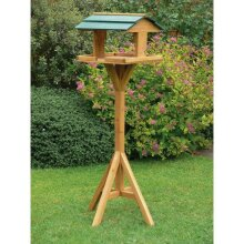 Trading Innovation Wooden Bird Feeding Table   Weatherproof   Outdoor Garden Freestanding Bird Shelter Feeding House Station Stand and Tray