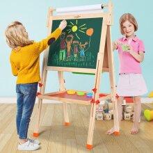 Wooden 2 in 1 Kids Easel Chalk Drawing Board Blackboard and Whiteboard