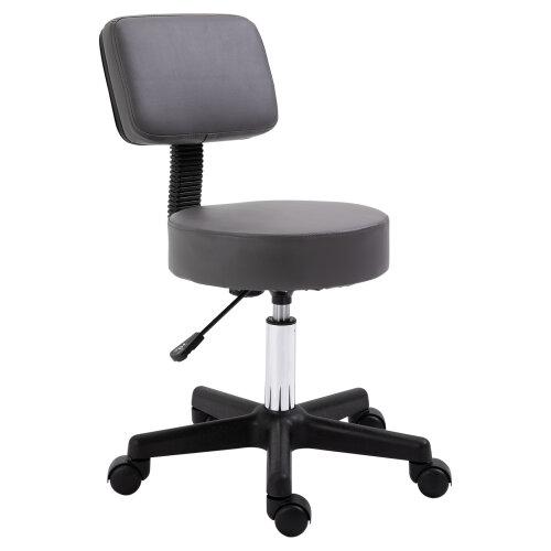 HOMCOM Beautician's Adjustable Grey PU Leather Swivel Salon Chair
