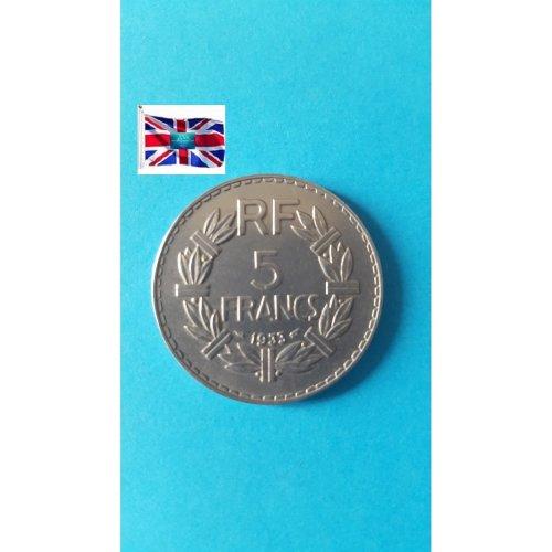 """France 1933 """"5 Francs"""