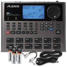 Alesis SR18 18 Bit Portable Drum Machine with Effects and Accessory Bundle w/Cables + Fibertique Cloth