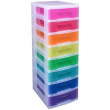 Really Useful Drawer Tower 8x7 Litre Clear/Rainbow