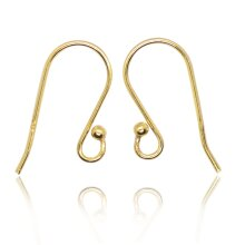 French Wire Earring Ball Hooks Vermeil Gold-Plated - Size 20mm