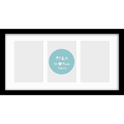 "16x9""/3 6x4"" Multi Oxford Black Photo Frame with Soft Cream Mount - Glass Window"
