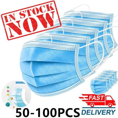 (50pcs) 50-Pack Triple Layer Protective Masks 3ply Disposable Face Masks