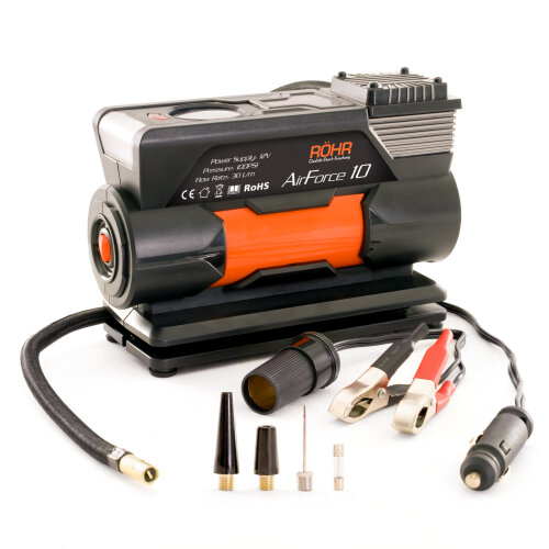 Rohr AirForce 10 Tyre Inflator Air Compressor 12v 100W 100 PSI with LED Torch Light