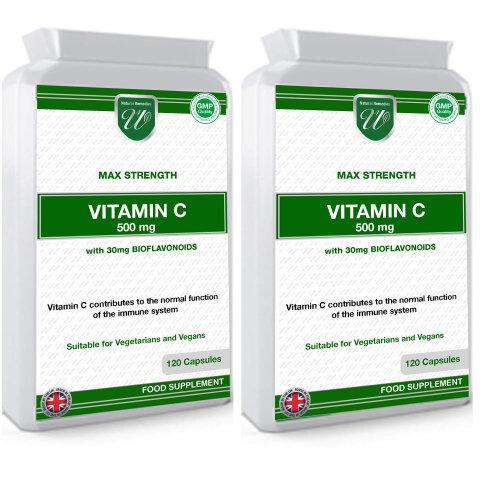 (240 Vegan Capsules) Vitamin C 500mg 1000mg per Serving Made in the UK