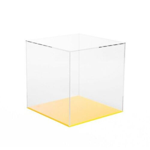 Acrylic Display Cube with Coloured Base 24 Colour&Size Variations