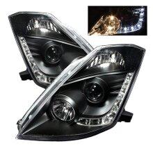 Spyder 5064738 Halogen Model DRL Projector Headlights for 2003-2005 Nissan 350Z - Black