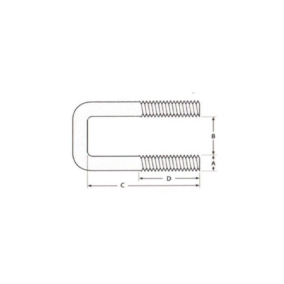 U-Bolt M8 x64 mm Thread 1 54 mm Inside Diam 102 mm Inside Height Stainless Steel Pack Size
