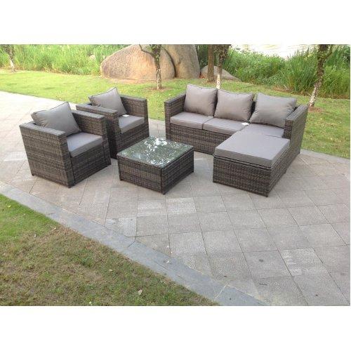 Fimous 6 Seater Grey Rattan Sofa Set, Grey Rattan Outdoor Furniture Set