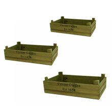 Green Wash Covent Garden Vintage Farm Shop Wooden Storage Display Crate Tray