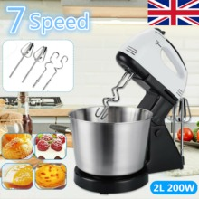 7 Speed 200W Electric Food Stand Mixer with 2L Stainless Steel Bowl