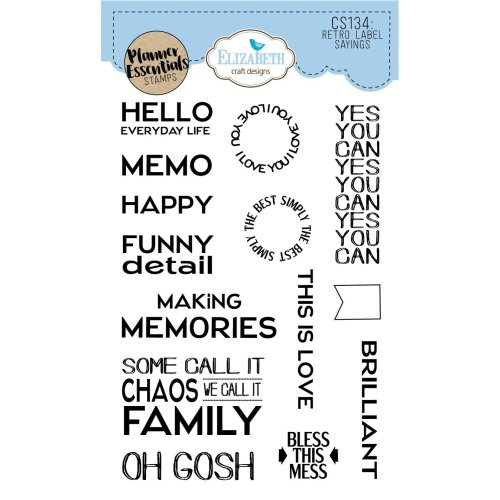 Elizabeth Craft Clear Stamps-Retro Labels Sayings