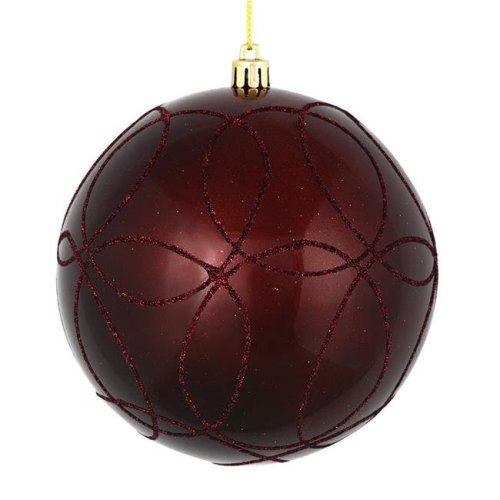 Vickerman N182665D 6 in. Burgundy Candy Ball Ornament with Circle Glitter Pattern, 3 per Bag - Pack of 12