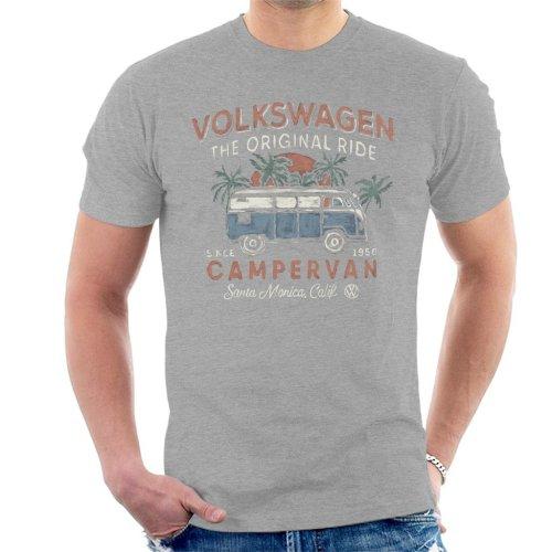 (Medium, Heather Grey) Official Volkswagen The Original Ride Campervan Men's T-Shirt