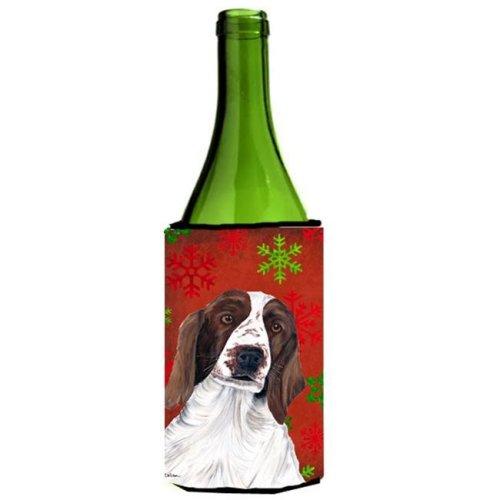 Welsh Springer Spaniel Snowflakes Holiday Christmas Wine Bottle   Hugger