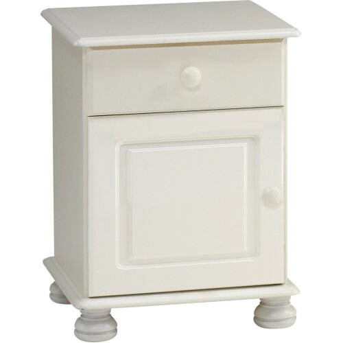 Steens Richmond White 1 Drawer 1 Door Bedside Table / Cabinet