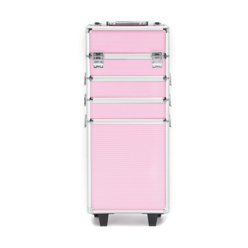 (Pink) 4 In 1 Vanity Makeup Case Trolley Box