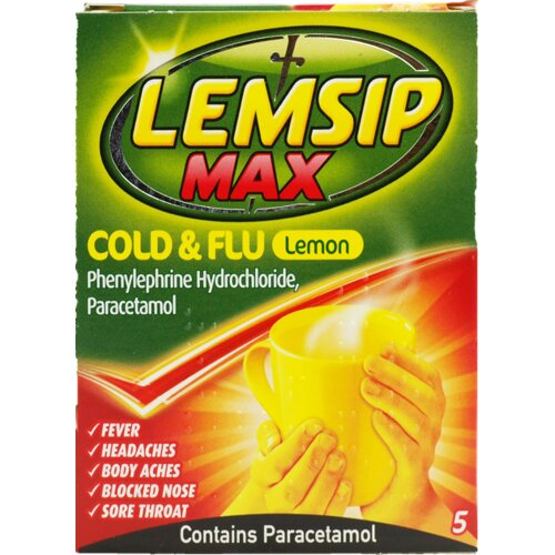 Lemsip Max Cold & Flu Lemon Hot Drink 5 Sachets