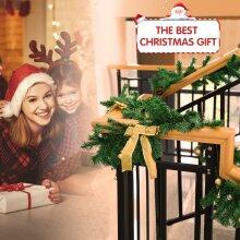 6/9FT Pre Lit Christmas Garland w/ LED Lights Wreath Xmas Fireplace Warm Decor