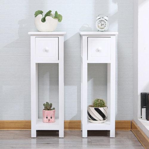 Pair of Tall Slim Bedside Telephone Tables Narrow Bedroom Hallway Wood