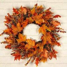 45CM Christmas Thanksgiving Fall Door Wreath Autumn Maple Leaf Garland Decor