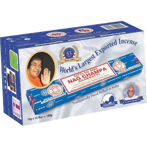 Satya Sai Baba Nag Champa 15g Incense Sticks x 12 packets