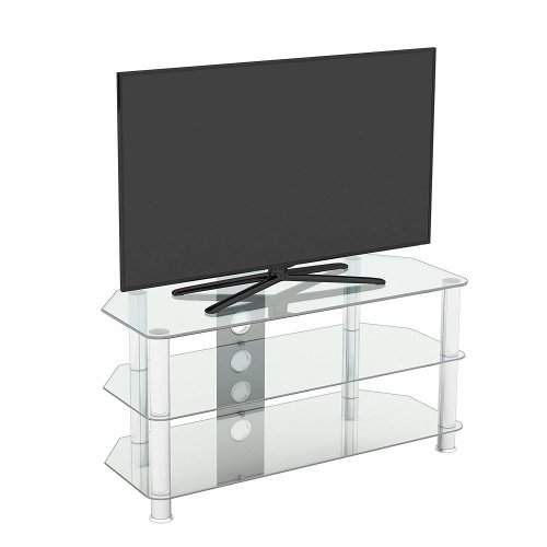 King Glass TV Stand 100cm, Chrome Legs, Clear Glass, Cable Management, for TVs up to 50""