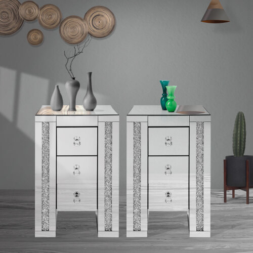 Crystal Diamond Cabinet 3Drawer bedside tables Mirrored Crystal Handle
