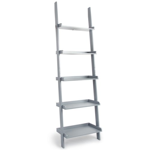 (Grey) Charles Jacobs Ladder Shelving Unit | 5-Tier Leaning Bookcase