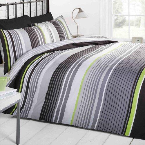 Cambridge Stripe Duvet Set Black Double