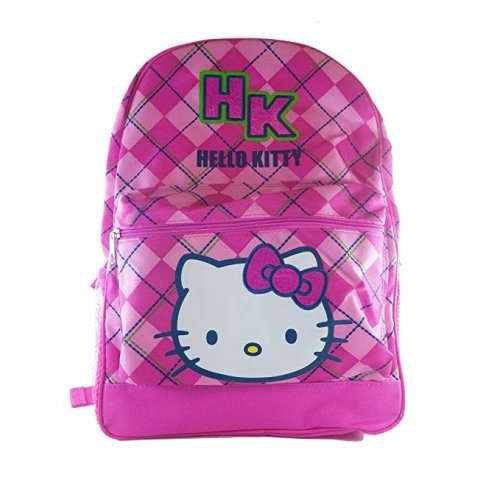 "Backpack - Hello Kitty - Pink Checker 16"" School Bag New 818392"