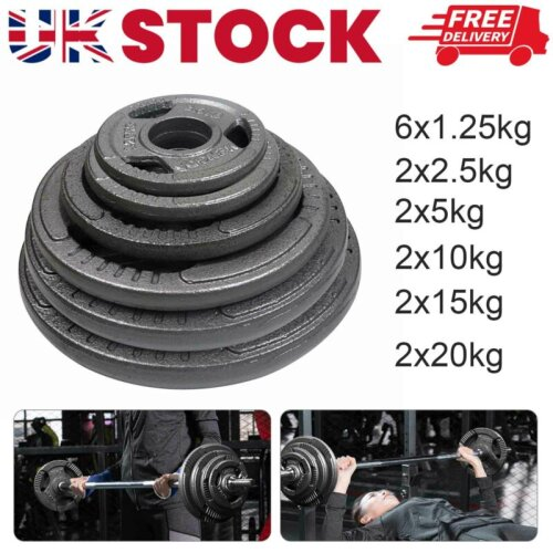 Weight Plates Set 2x5KG Standard cast iron Barbell Dumbbell Lifting Training