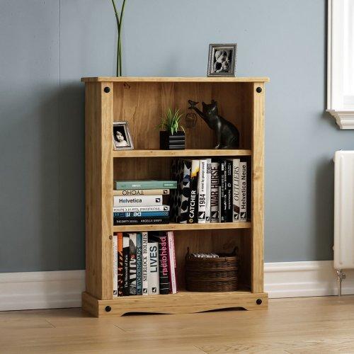 Corona Low Bookcase 3 Shelf Shelving Display Living Room Storage