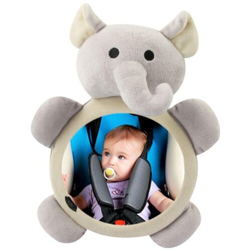 (As Seen on Image) Baby Safety Seat Rear Mirror Car Interior Rearview Mirrors Infants Kids Plush Cartoon Toy