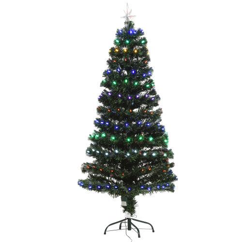 HOMCOM 5FT Pre-Lit Artificial Christmas Tree w/ 170 Lights Star Topper Metal Base 170 Branch Tips Home Seasonal Decoration