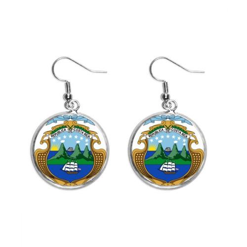 Costa Rica National Emblem Country Ear Dangle Silver Drop Earring Jewelry Woman