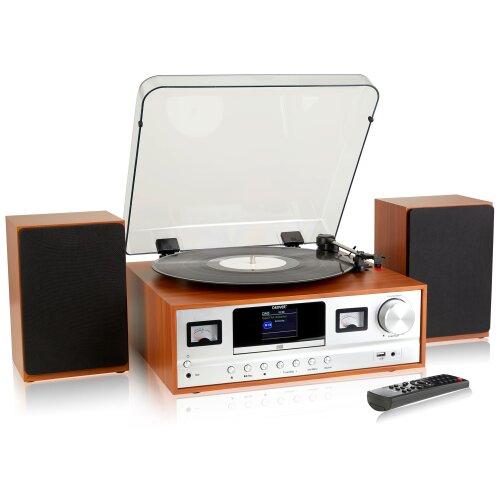(Light Wood) Denver MRD-105 7-in-1 Record Player Hi-Fi System