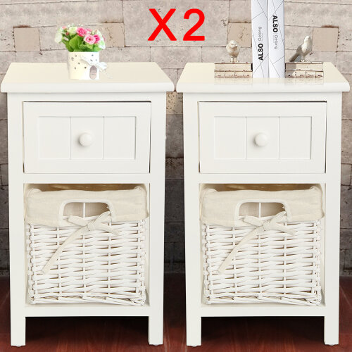 2 X Wooden Bedside Tables Chic White Drawers & Wicker Basket Cabinet