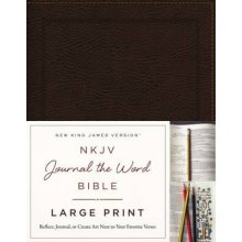 NKJV Journal the Word Bible Large Print Bonded Leather Brown Red Letter Edition  Reflect Journal or - Used