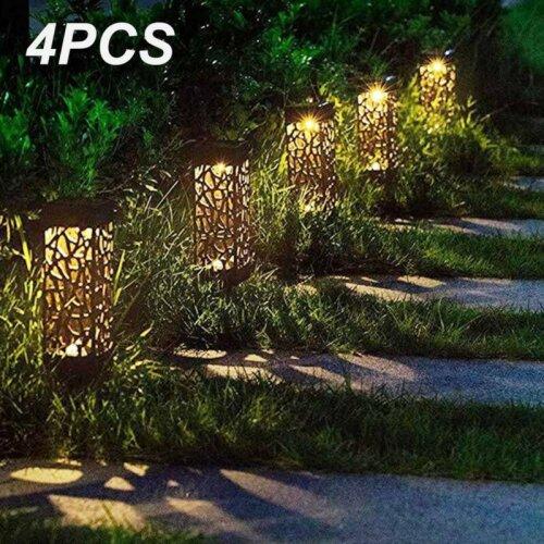 4x Solar Powered LED Outdoor Yard Path Lighting Garden Lights Post