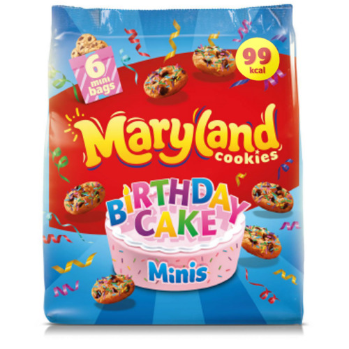 3 x Maryland Cookies Birthday Cake Minis 6 Bags Per Pack
