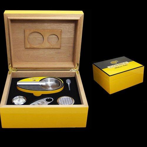 COHIBA Cedar Lined Cigar Humidor Case Gift Set Piano Finish Yellow